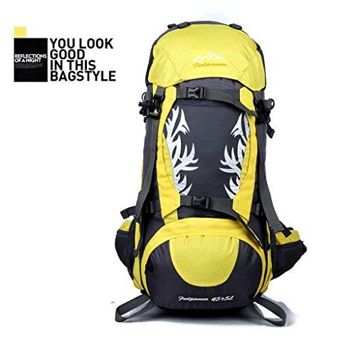 Die neue Flamme Outdoor-Camping-Rucksack Bergsteigen Tasche wasserdicht Reiten Profi-Paket Gelb