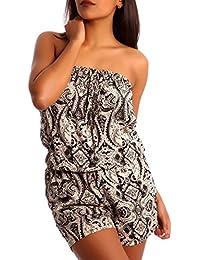 Damen Overall Bandeau Jumpsuit Short Strandoverall Shorty