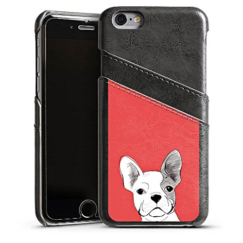 Apple iPhone 5s Housse Étui Protection Coque Bouledogue français Chien Chien Étui en cuir gris