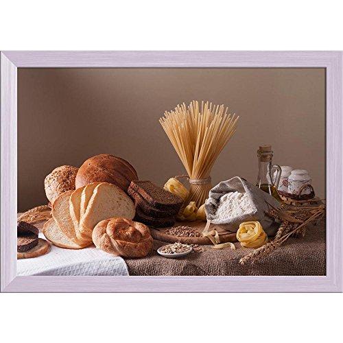 Pitaara Box Photo of Bread, Pasta & Wheat Canvas Painting White Frame 23.2 X 16Inch White Bread Box