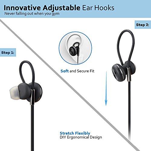 Bluetooth Kopfhörer Bovon Kabellose Magnetische Attraktive IPX4 Spritzwasserfest Sport Headset Stereo In-Ear Ohrhörer mit Mikrofon für iPhone, iPad, Samsung, Nexus, HTC und mehr (schwarz) - 4