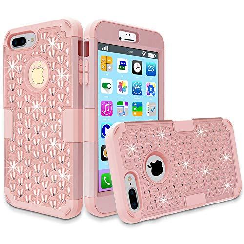 iPhone 7Plus Fall, MCUK 3in 1Hybrid beste Impact Defender Schutzhülle Silikon Gummi-Haut, harte Combo Bumper mit kratzfeste Hülle für Apple iPhone 7Plus (2016) Pink Unlocked Cell Phones