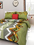 #1: Homefab India 140 TC Cotton Double Bedsheet with 2 Pillow Covers - Green