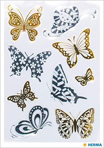 HERMA 15561 Creative Sticker Schmetterlinge Gold- und Silberfolie für Kinder, Mädchen, Jungen, Hochzeit, Geburtstag, Geschenke, Fotoalbum, 9 Aufkleber -