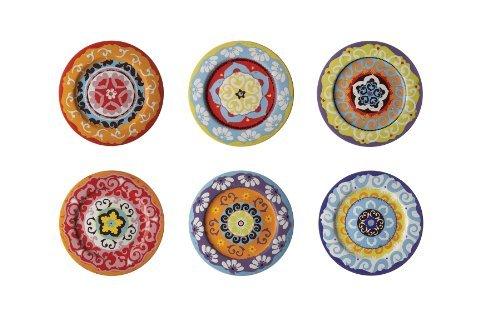 Rose & Tulipani Teller, mediterraner Stil, bunt, 6 Verschiedene Teller