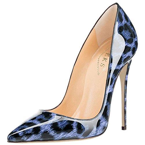 EKS Damen Blau Leopard Wildleder Spitz High Heels Kleid-Partei Pumps 39 EU (Pointy-zehe-schuhe)