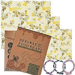 Chnaivy Emballage Alimentaire Réutilisable de Cire d'abeille,Abeille de Wrap,Lot de 3: Petit, Moyen et Grand, Produit Naturel et sans Plastique - Zéro déchet