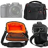 DURAGADGET Sacoche noir/orange pour appareils photo Panasonic Lumix GF8 et DMC-FZ300, Nikon Coolpix B500 et B700 Bridge et Pentax K-1 SLR et leurs accessoires - Garantie 2 ans