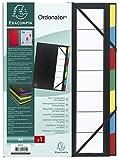 Exacompta 55321E Ordnungsmappe mit festem Deckel 3 mm, Gummizug und dehnbarem Faltenrücken, 7 Fächer, Ordonator, für Format DIN A4, schwarz