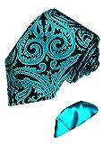 Lorenzo Cana - Türkis schwarze Krawatte aus 100% Seide im Paisley Barock Muster mit uni Einstecktuch - 8444202