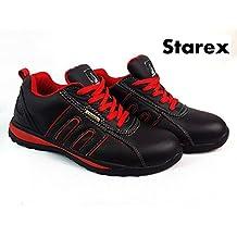Zapatos de seguridad con puntera de acero para hombre, piel sintética, Red/Black, 9
