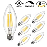 LED Candle Light Bulb,CMYK Dimmable 4W C35 Antique Edison Screw LED Filament Bulbs 40W Incandescent Replacement For Decorate Home,E27,2200K,Warm White,6 Pack