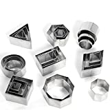 Cookie Cutters Stainless Steel ( Round Triangle Square Rectangle Rhombus Hexagon Oval Shapes ) Set of 24 by KAISHAN