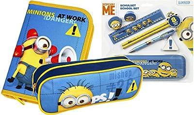 Minions Schüleretui, Schulset mit 8 Teilen und Faulenzer für die Schule Komplettes Minions Spaß Set