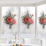 Fensterfolien 3D Glasfolie Ein Blumenstrauß Blumen Glasschiebetür Badezimmer Badezimmer Fenster Glas Aufkleber Küche Haushalt Kinderzimmer Aufkleber Nordic Wind Ins Licht Undurchsichtig, 120Cm * 45
