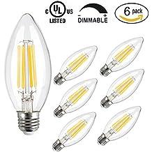 CMYK® 4W E27 Bombilla LED, incandescente equivalente 40W, 400 lúmenes, blanco cálido 2700K, 360° Ángulo del haz,bombillas led vela,6 Unidades