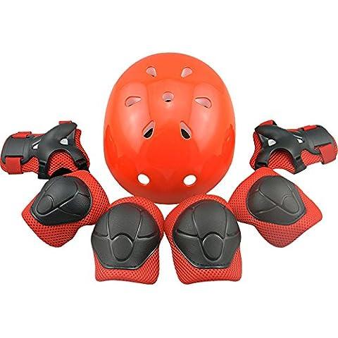 truewon Protective Gear Pad Sets casco con rodilla codo y muñeca suite para 3–6años de edad los niños o niñas, color rojo, tamaño 7