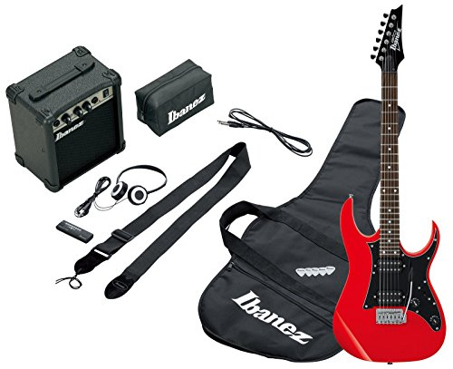 Ibanez IJRG200-RD Jumpstart Set E-Gitarre (Amp, Gigbag, Gurt, Kabel, Plektren, Zubehörtasche) rot