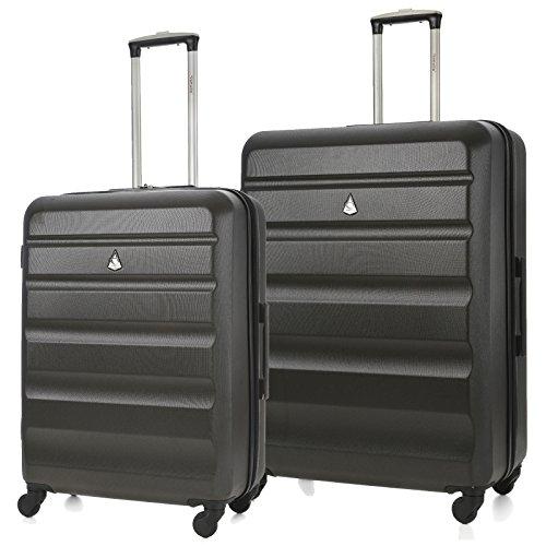 Aerolite Leichtgewicht ABS Hartschale 4 Rollen Trolley Koffer Reisekoffer Hartschalenkoffer Rollkoffer Gepäck, 69cm + 79cm, Kohlegrau