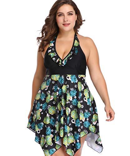 HAINE 2 Stücke Plus Size Damen Bikini Kleid Tankini Tops Set mit Shorts Blumendruck Badebekleidung Beachwear Schwimmen Kostüm für Frauen (Ananas 3XL) (Ananas Kostüm Frauen)