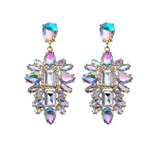 Jerollin Damen Ohrring Silber Ohrhänger Kristall Crystal Set Statement Ohrringe Anhänger Lange Earrings Haken Frauen Vintage Modeschmuck Ethno Schmuck (Große Ohrringe Modeschmuck)
