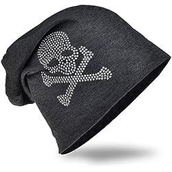 Jersey Slouch Beanie Long–Gorro con calavera Unisex con diamantes Uni Color Hombre Mujer Trend Pirat-Anthrazit talla única