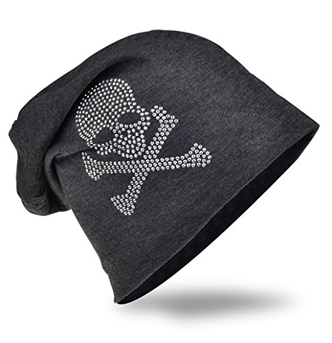 Jersey Slouch Beanie Long Mütze mit Totenkopf Strass Applikation Unisex Unifarbe Herren Damen Trend (One Size, Pirat-Anthrazit)