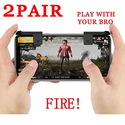 Mobile Game-Controller für PUBG/Messer, Fortnite/Critical Ops/Rules of Survival, Ultra-Sensitive Shoot und Ziel-Touch-Tasten L1R1 Handy PUBG Controller Game Joystick für Android iOS Weiß 2 Pair