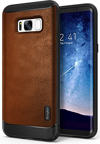 Ringke Funda Samsung Galaxy S8 2017 [Flex S] Funda Elegante Duradera Recubierta Texturizada de Cuero TPU Flexible con Protección contra Impactos Avanzada - Marrón Brown