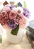 Sisthirth Künstliche Blumen, gefälschte Blumen Seidenblumen Kunststoff Hochzeit 10 Köpfe Rosensträuße Blumenarrangement für Home Decor Party Mittelstücke Dekoration (Rosa-Lila)