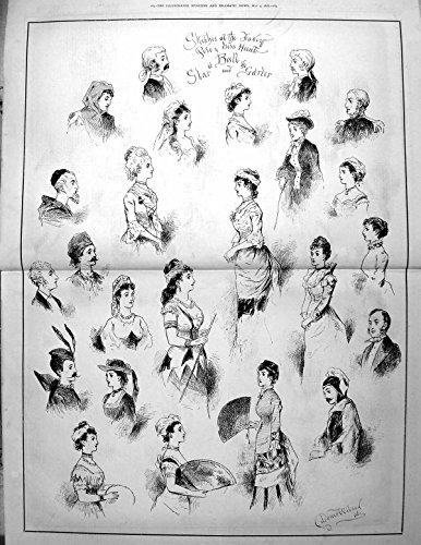 Giarrettiera Operata 1878 155TG614 della Stella della Palla di Caccia del Vestito da Polo di Vecchi Schizzi Vittoriani Antichi Originali della Stampa