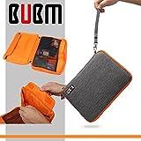 BUBM Doppelschichte Universal Reisetasche Wasserdichte auf Beutel Tragen für Kabel Draht und Festplatte Elektronik Zubehör, X-Large, Grau und Orange