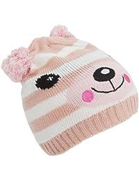 Bonnet tricoté style chat ou ourson avec pompon - Fille