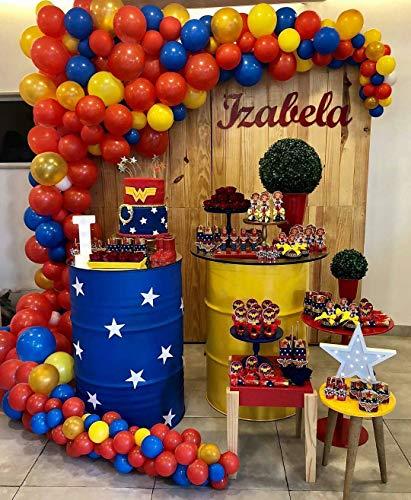 PartyWoo Rot Gold Gelb Blaue Luftballons 85 Stück 12
