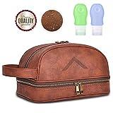 Premium Kulturtasche zum Aufhängen inkl. 2 Reiseflaschen aus Leder mit 24 Monate Garantie von VIDARE® - XXL Kulturbeutel | Kosmetiktasche für Weltreisende mit Haken und Tragegriff (Special Edition)
