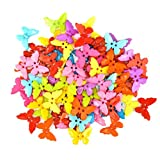 #2: Unobite 2-Holes Butterfly Design Plastic Buttons for Sewing and DIY Craft Pack of 100 Piece