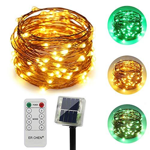 ErChen Zweifarbige Solarbetriebene LED Lichterkette, 33 FT 100 Leds Fernbedienung Farbe ändern 8 Modi Solar Kupfer Draht-Lichterketten für Außen Balkon Garten Terrasse (warmweiß, Grün)