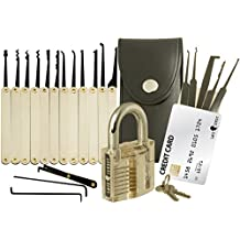 Set de ganzúas con 20 piezas - Incluye candado transparente y tarjeta de crédito con herramientas de Lock Cowboy - Guía para principiantes y cerrajeros