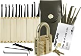 20-Piece Lock Pick Set with Transparent Padlock and Credit...