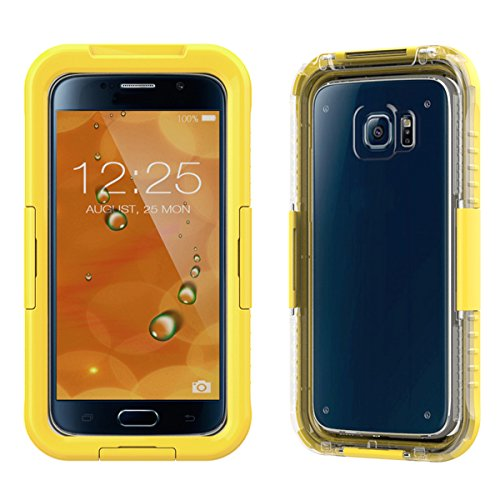 Samsung Galaxy S6 G9200/S6 Edge G9250 Waserdicht Hülle [Happon] Ultra Slim [IP68 Zertifiziert Wasserdicht] Stoßfest Stubdichtes Snowproof Handyhülle Kratzfestes Gehäuse Outdoor Handy Schutzhülle Unterwasser Cover Tasche Case für Samsung Galaxy S6 G9200/S6 Edge G9250 (Gelb)