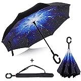 Reverse-Regenschirm aus Double Layer wasserabweisenden Material Taschenschirm der vor Regen