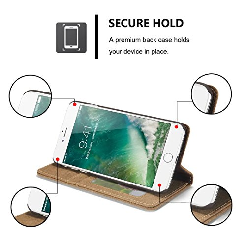 YHUISEN iPhone 7 Plus/ 8 Plus Fall, [Denim Series Wallet Case] Premium Canvas Denim Flip Folio Schutzhülle mit Stand für iPhone 7 Plus / iPhone 8 Plus ( Color : Red ) Brown