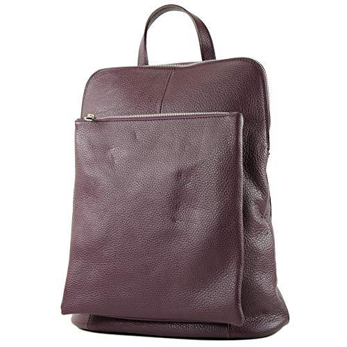 modamoda de - T141 - ital Damen Rucksacktasche 3in1 aus Leder, Farbe:Purpurviolett