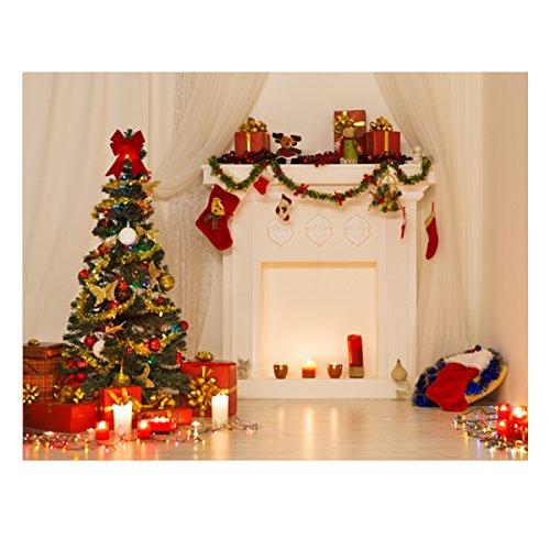 Werse 5x7ft Vinyl Weihnachtsbaum Kamin Hintergrund Fotografie Studio Hintergrund Prop