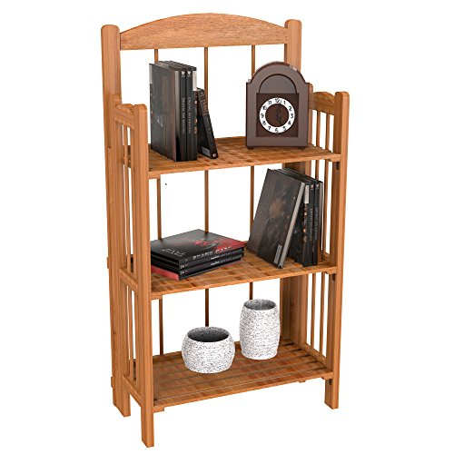 Lavish Home 3-Shelf Light Bookcase, Wood Finish
