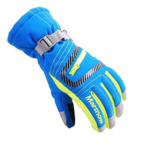 Kinder Skifahren Handschuhe Skihandschuhe Kinder Schnee Handschuhe Outdoor Handschuhe Sport Handschuhe Winter Handschuhe für Kinder (blau, M (9-14 Jahre alt))