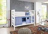 RELITA Etagenbett WICKY Buche massiv l weiß lackiert l Textilset Delfine l Blau