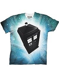 Doctor Who TARDIS Stars Adult White Sublimation T-Shirt (Adult X-Large)