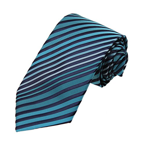 DAA7A17C Turquoise Midnight Blue Stripes Microfiber Neck Tie Absolutely In Bulking Neckwear By Dan Smith