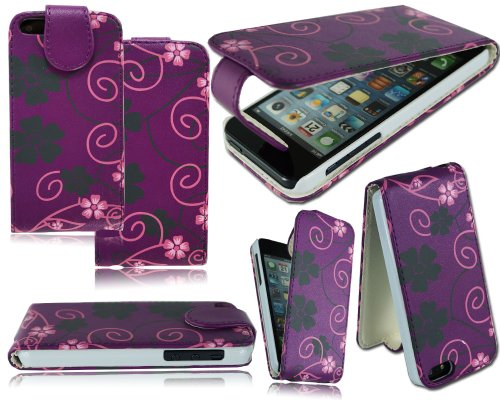 Neue Blumen Leder Flip Wallet Schutzhülle für Apple I Phone 611,9cm Purple Flower Flip